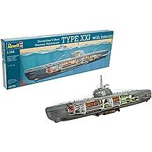 Revell- Maqueta Submarino alemán Type XXI con Interior, Kit Modello Escala 1:144
