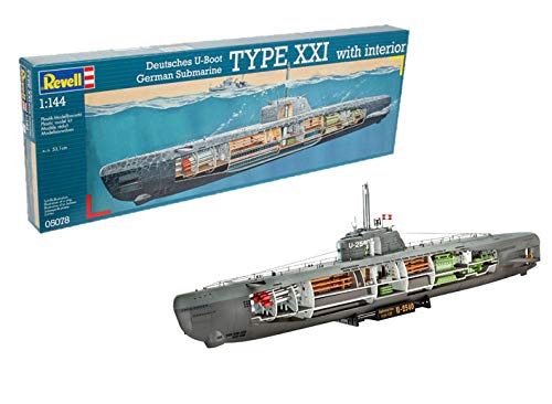 Revell- Maqueta Submarino alemán Type XXI con Interior, Kit Modello Escala 1:144 (5078) (05078)