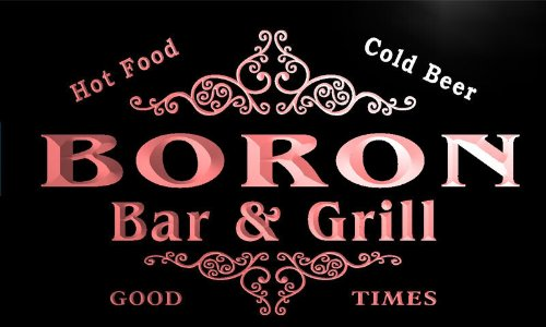 u04712-r BORON Family Name Bar & Grill Cold Beer Neon Light Sign Barlicht Neonlicht Lichtwerbung