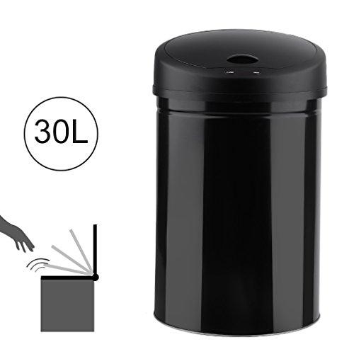 Capteur infrarouge Poubelle Poubelle Automatique Acier Inoxydable, Acier inoxydable, noir, 30 l