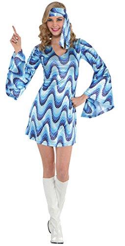Karnevalsbud - Damen Kostüm 60er Jahre Kleid und Haarband Fledermausärmel Schlager-Move Festival Hippie, L/XL, Mehrfarbig (Hippie Girl Sexy Kostüme)