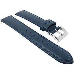 Herzog Ersatzband Uhrenarmband Seidenkalb Leder Band Blau 26707S, Stegbreite:16mm