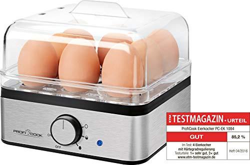 ProfiCook PC-EK 1084 Eierkocher für bis zu 8 Eier, Omelett-/Pochier-Funktion, Edelstahlgehäuse