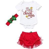 Sallydream- Princesa Vestido de Fiesta Niña Conjunto de Trajes de Pantalones Cortos de tutú de Mameluco navideño de Navidad para bebés recién Nacidos