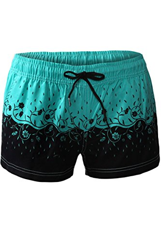 Cokar Damen Schwimmen Shorts Badeshorts Bikinihose Wassersport Schwimmshorts Druck Sommer Boardshorts Beach Pants Grün