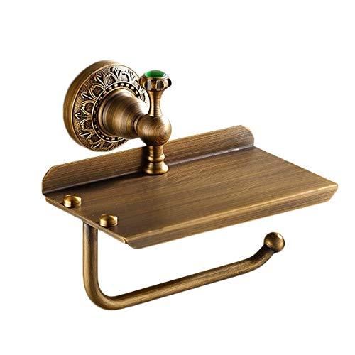 Toilettenpapierhalter- Toilettenpapierhalter Toilettenpapierhalter 2 in 1 Retro Badezimmer-Rollenhalter mit Mobile Storage Box, polierte Kupfer (Bronze) (Color : Bronze)