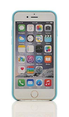 iProtect Kunstleder Schutzhülle Apple iPhone 6 Plus flexibles Case in Grau Hellblau