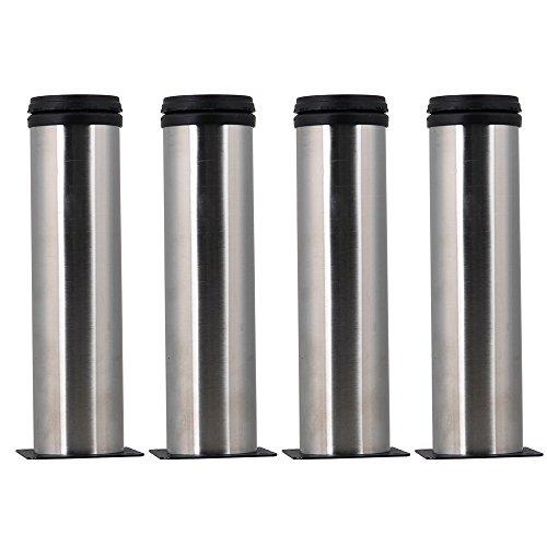 Silber Bad Möbel (glvanc, verstellbarer Silber Edelstahl Küche Bad Büro Möbel Schrank Bein, rund Füße Ständer, für Tisch Ablagen 4Stück)