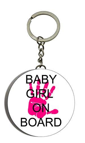Baby Girl on Board Flaschenöffner Schlüsselanhänger, 58 mm, Rosa