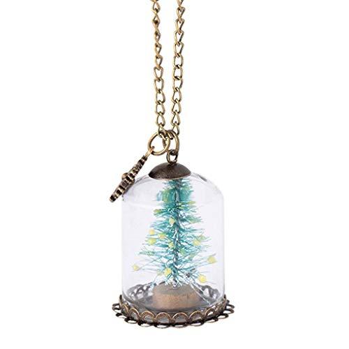 Kakiyi Frauen-Glas-Schalen Weihnachtsbaum Luminous Halskette Glow In The Dark Snowflake Halskette Schmuck Geschenk