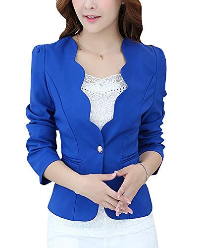 QitunC Donna Onda Collare Blazer Cappotto Un Pulsante Casuale Sottile Corto Tailleur Giacca Outwear Blu XL