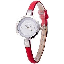 ufengke® elegant exquisite thin strap rhinestone numerals dress wrist watch for ladies girls,red