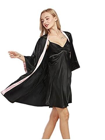Wiftly 2 pièces Robe+ Peignoir Femmes Chemises de nuit Confort en Satin Élégantes Sexy Sling Déshabillés Eté 2 Pcs Edel Ensembles de pyjama (Rose)