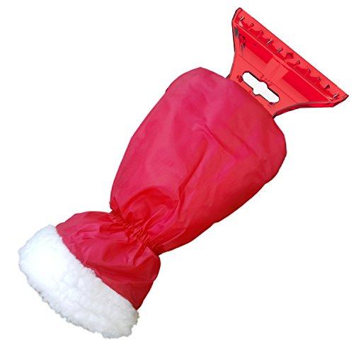 Preisvergleich Produktbild AUPROTEC Eiskratzer mit Handschuh, gefüttertes Innenfutter, umschließender Gummizug, mit Eisbrecherkante, rot