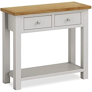 painted console table. Farrow Painted Console Table / Hall Stone Grey With Oak Top \u0026 Drawers T