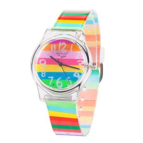 Reloj de pulsera para niños, niñas y adolescentes, con diseño de rayas...