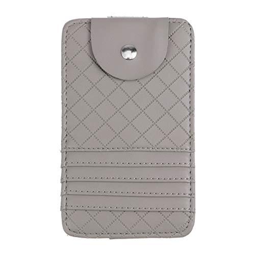 BESPORTBLE Multifunktionsauto Auto Sonnenschutz Visier Glas Aufbewahrungsclip Kartenhalter Tasche (Grau)