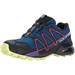 Salomon Speedcross 4 Gtx W, Zapatillas de Running Mujer, Azul (Poseidon Virtual/pink/sunny Lime), 40 EU