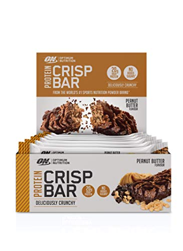 Optimum Nutrition Protein Crisp Bar- Protein Riegel (mit 20g Eiweiß [enthält Whey Isolate],  Proteinriegel von ON) Peanut Butter, 1er Pack (10x65g) -