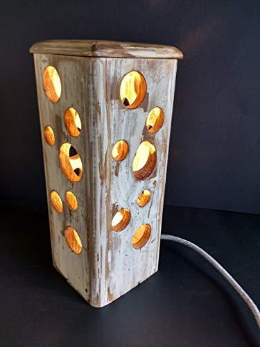 Lámpara de sobremesa vintage ambiente cálido de madera reciclada de palet hecho a mano