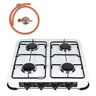 amara-global 4-burner gas stove, camping stove, gas stove, White