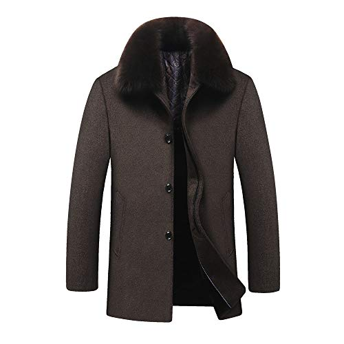KPPONG Woolen Mantel der Männer, Stilvolle Geschäfts-Art-Lange Starke dünne Abnehmbare Kragen-Jacke