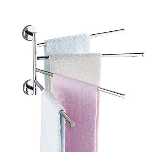 Swivel Handtuch Bar Edelstahl 4-Arm Badezimmer Swing Aufhänger Handtuchhalter Speicher Organizer platzsparend Wandhalterung -