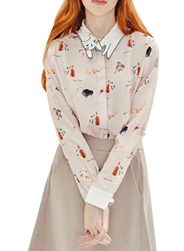 Futurino Women's Cat Pattern Collar Button Down Long Sleeve Blouse Shirt