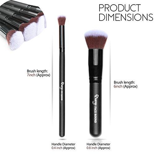 Qivange Makeup Brush Set, Kabuki Brushes Foundation Blush Blending Eyeshadow Face Powder Brushes Makeup Brush Kit with Pouch, Black (10pcs)