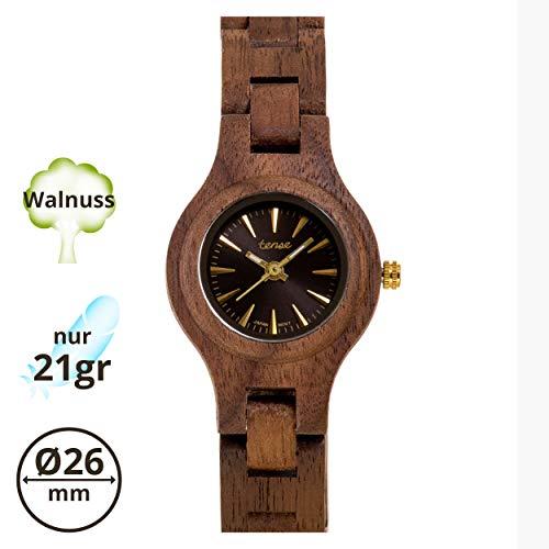 TENSE Pacific Damen Holzuhr analog Quarz-Armbanduhr Walnuss