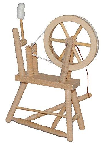 Miniatur Spinnrad - aus hellem natur Holz - zum Spinnen Wolle - für Puppenstube Maßstab 1:12 - Puppenhaus Puppenhausmöbel - Schafwolle Spindel Dornröschen Märchen - Wohnzimmer