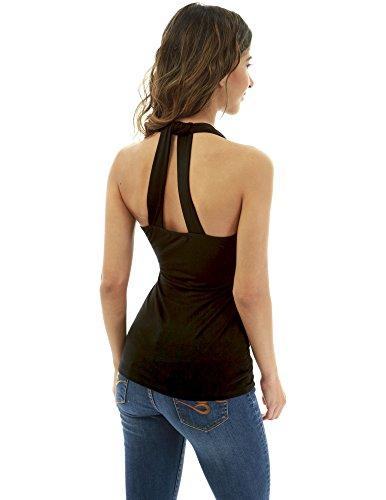 PattyBoutik Damen Neckholder-Back-Detail-Bluse (schwarz M 40)