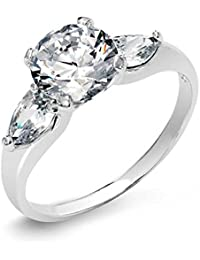 Bling Jewelry Sterling Silver Solitaire CZ Pear Shape Accents Engagement Ring
