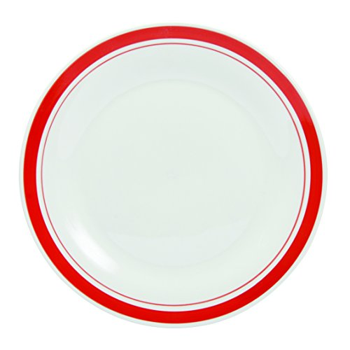 Novastyl - 7154075 - Assiettes Resto - Rouge/Blanc - Lot de 6