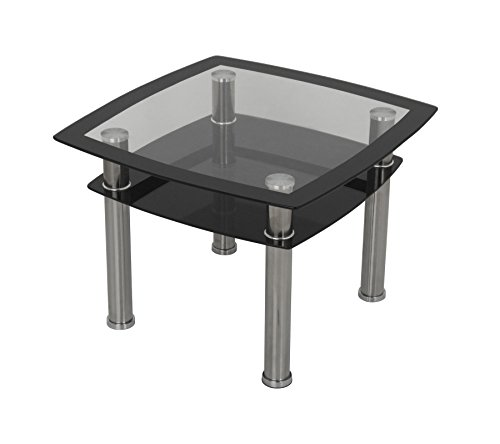 black-silk-screen-tempered-glass-lamp-table-50cm-wide-shelf-chrome-leg