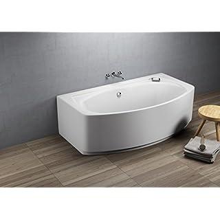 Aqualuxbad Badewanne Wanne Raumsparwanne eckbadewanne rechteck inkl. Wannenfuß und Ablaufgarnitur, Schürze:mit Schürze