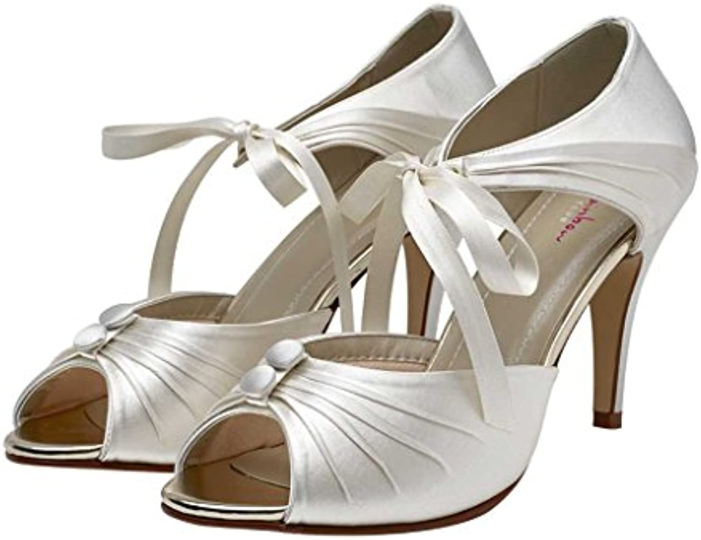 34504228a1e5a3 Rainbow Club Nancy - - - Vintage Inspired Peep Toe Stiletto Heel Ivory  Wedding Shoes B078YVK8LY Parent 74a48d
