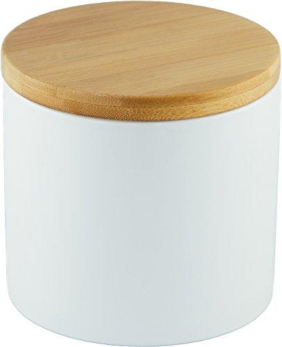 Vorratsdose aus Keramik mit Bambusdeckel, luftdicht, 500 ml, weiß, hochglänzend, Zuckerdose,...