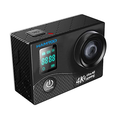 Hunpta@ Action Kamera WiFi Sports cam 4K Camera 20MP Ultra Full HD Unterwasserkamera Helmkamera wasserdicht mit 2 verbesserten Batterien Transporttasche und kostenlose Accessoires (Schwarz)