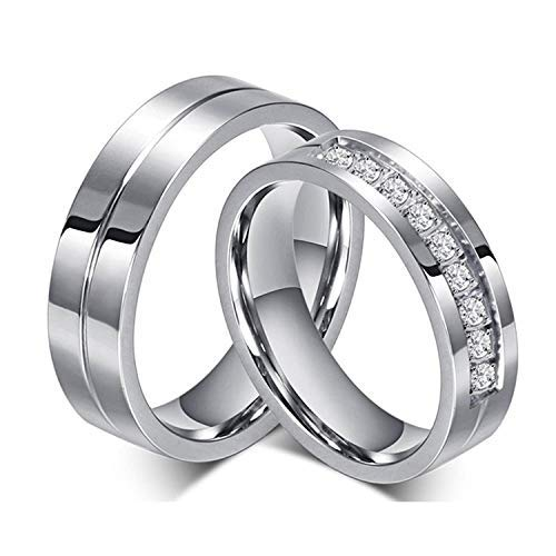 Moneekar Jewels Men,Women's Real Love Heart Stainless Steel Band Rings Valentine Love Couples Engagement Promise Rings (Amazon Exclusive)