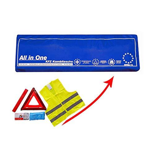 Verbandkasten mit Warneste Warndreieck und DIN 13164:2014 Verbandsmaterial/Verbandstofffüllung Auto Kombitasche als Erste-Hilfe-Set in BLAU -