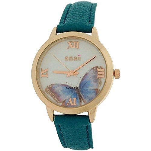 anaii-pink-azalea-ladies-rosetone-butterfly-print-dial-blue-pu-strap-watch-ap792