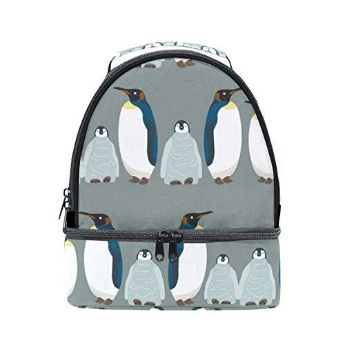 Lustige süße Pinguin-große Lunchbox mit Schultergurt, Lunchtasche mit Fächern, isoliert, für Kinder, Mädchen, Jungen, Erwachsene, Frauen, Herren, Picknick, Schule - Lunch-box Pinguin