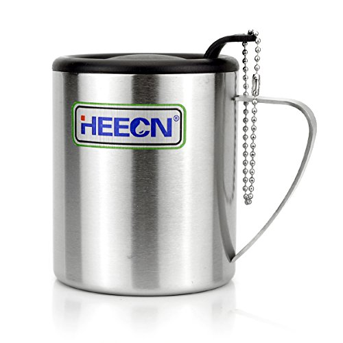 HEECN Camping-Becher mit Deckel Edelstahl Kaffeebecher mit Deckel 220ml 350ml hess-027 (350ml)