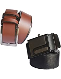 Sunshopping men's brown leather needle pin point buckle with black synthetic leather auto lock buckle belts combo (r-173)