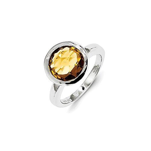 Whisky Sterlingsilber Quarz Ring-Größe: R 1/2-JewelryWeb