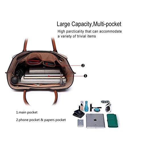 Miss LuLu Modern Damentasche Elegant Handtasche Tote Bag Groß Multifunktion (LT6637-Braun) LT6637-Koffee