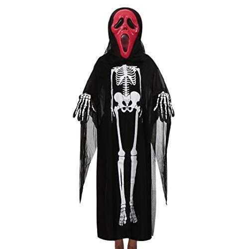 Halloweenkostüm für Kinder,Kinder Halloween Skeleton Kostüm Halloween Karneval Party Cosplay Outfits Set/ Umhang + Maske + Handschuhe (B, 4~10 Jahr Alt)