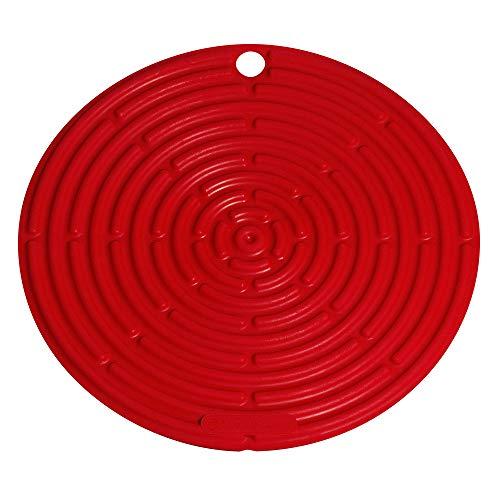Le Creuset, Dessous de Plat en Silicone avec Œillet de Suspension, Rond, Diamètre : 20 cm, Silicone, Cerise