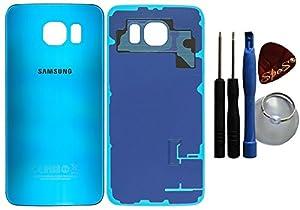 Original Akkudeckel Backcover Samsung Galaxy S6 G920F in Blau Topaz + Klebefolie/Dichtung + Werkzeug-Set + Reparaturanleitung (Austausch des Backcovers ) Reparatur-set von SPES®